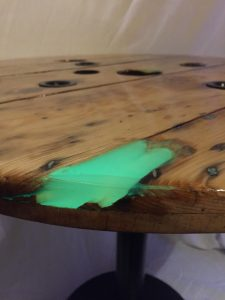 Toxic Green Glow In The Dark Epoxy Cable Reel Table – Paul Riley